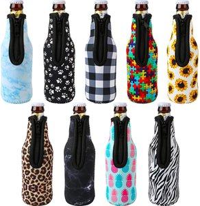 330ml 12oz Drinkware Handle Neoprene Beer Bottle Coolers Sleeve with Zipper, Bottles koozies, Softball, Sunflower Leopard Pattern GWF10415