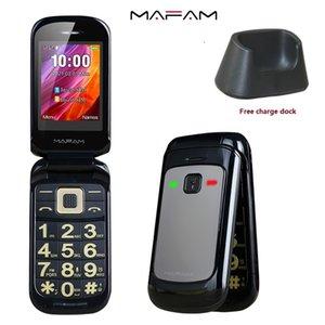 Unlcoked Original Flip 2.4'' Screen phone Dual SIM Card SOS key Speed Dial HD Display Big Keyboard FM Senior Cellphone For Old People Free Dock Charger