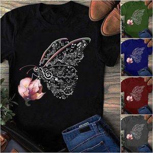 Short-sleeved t-shirt flower butterfly note pattern print
