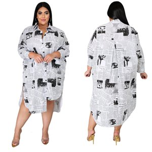 2021 Plus Size Spring Casual Newspaper Printed White Loose Shirt Blouse Women Clothes Long Sleeve Vintage Party Dress