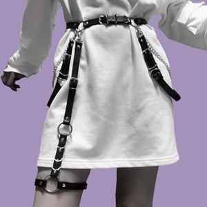 Ceinture en cuir de mode avec chaîne en métal femme Goth Goth Jarretière Sexy Boot De Ceinture Harnais Sangle Harnais Strap Heart Heart Boucle Taille Jeans