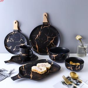 Os melhores glazes de mármore de ouro de cerâmica conjunto de utenseiros de mesa de porcelana pratos de café da manhã pratos tigela de macarrão caneca copo para decoração quatity
