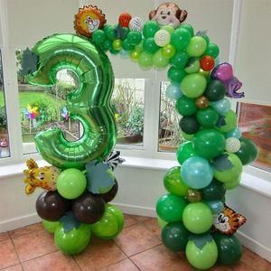 40 inç yeşil numara balonlar orman parti folyo balonlar erkek bebek doğum günü partisi dekorasyon çocuklar hayvan balon malzemeleri
