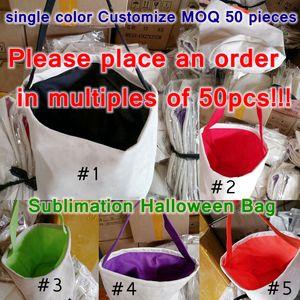 24*23cm Customize Sublimation Halloween Bucket DIY Halloween Candy Tote Bag Heat Transfer Christmas Reusable Storage Bags Handbag CYZ3251