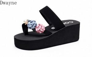 2020 moda versão coreana selvagem dos novos sandálias soladas grossas flores de praia sandálias e chinelos mulheres verão moda desgaste fli mulheres y40v #
