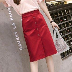 Skirts Office Ladies A Line Bodycon Skirt Faldas Spring Autumn High Waist Women Fashion Button Midi Female White Red Black