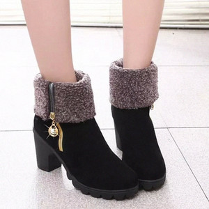 Fashion New Black Autumn Winter Shoes Women High Heel Boots Fashion Keep Warm Womens Boots Chain Woman Ankle Shoes Ladies Boots Cheap J53C#