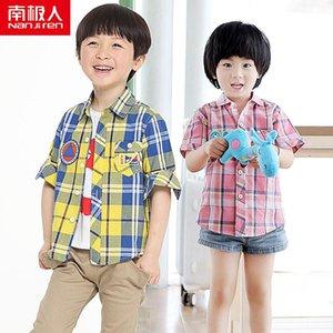 NANJIREN Children Boys Shirts Long Sleeve Tops Kids Plaid 100% Cotton Casual Shirt Boys Shirts Clothing High Quality