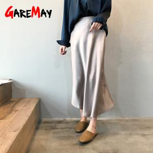 Garemay Midi Maxi Larga Cintura Alta Falda satinada Mujeres Elegante Seda A-Line Solid Vintage Ol Ladies Summer Faldas Para Mujeres 210305