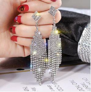 European and American fashion exaggeration full diamond Tassel Earrings female temperament celebrity long earrings net red Earrings show fac