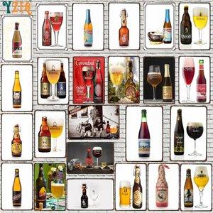 YZFQ Beer Plaque Metal Vintage Signos decorativos Bar de pared Restaurante Hombre Hombre Cueva Decoración Vintage 30x20CM DU-9048A Q0308