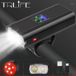 Trlife 4000mAh Faro de bicicleta 1200lm USB recargable MTB 2T6 Luz de bicicleta Wiht Tailight 3 Mode LED Faros para ciclismo1