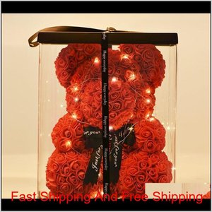 Rose Led Bear Teddy Foam Soap Gift Roses Bear 40Cm Gifts Year Flower For Box Valentine'S With Gift New Artificial Lovely Of Day Wmtxs Hnmap