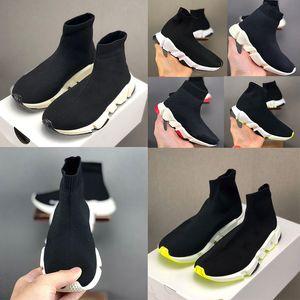 Высочайшее качество Париж малыш носок обувь кроссовки скорость мальчик девушка бегуны тренеров вязаные носки Triple S Boots Runner KISD обувь размер 24-35 с коробкой