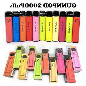 Pod Sigara Puffs Gunnpod Vape 8 ml E Kalem Deivce 1250 mAh Pil ile 2000 Vapes GunPod Kiti Tek Kullanımlık Sigara JGRCA