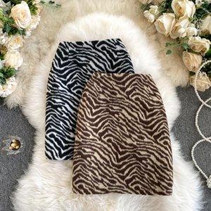 Skirts Vintage Zebra Print Soft Woolen Skirt Women Elegant High Waist Back Zipper Thicken Autumn Winter A Line Mini