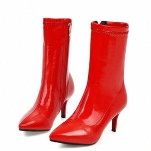 Kadın Çizmeler Moda Patent Deri Kısa Çizmeler Bayanlar Ince Topuk Fermuar Ayak Bileği Konfor Sonbahar Kış Streç Siyah Kırmızı K20F #