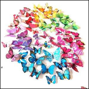 Décor & Garden3D Butterfly Wall Stickers 12Pcs Decals Pvc Butterflies Decor For Fridge Kitchen Living Room Home Decoration Owe7584 Drop Deli