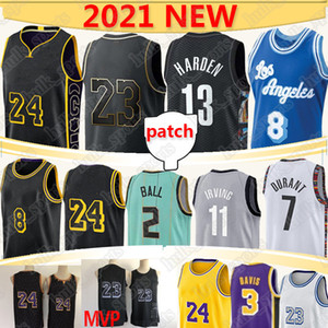 Nba Basketball Jerseys Hornets 2 Lamelo Ball Los Angeles Lakers 23 LeBron James Kobe Bryant 3 Davis Brooklyn Nets 7 Durant 11 Irving 13 Harden basketball nba basketball jersey