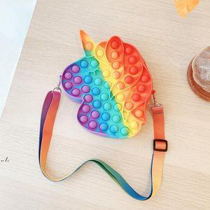 Fidget Toys Rainbow Unicorn Push Bubble Shoulder Bag Anti-Stress Handbag Kid Adult Squeeze Sensory Stress Reliever Gift RRB11435