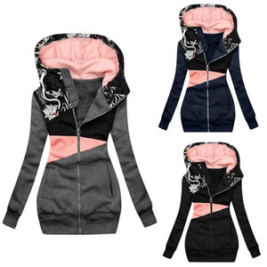 2020 women's sweater zipper color matching printing hooded long sleeve coat