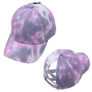 Peaked cap Tie Dye Ponytail Baseball Caps Washed Trucker Hats Cap Outdoor Visor Snapbacks Caps Party Hats 7styles YYS5312