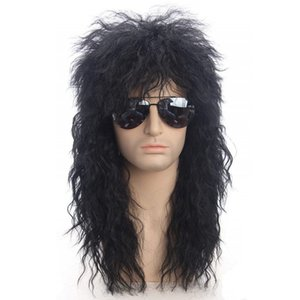 Gr Men Long Synthetic Hair Extension Wig Black Color Female Hairpiece Punk Puffy Heaear for Halloween High Temperature Fiber