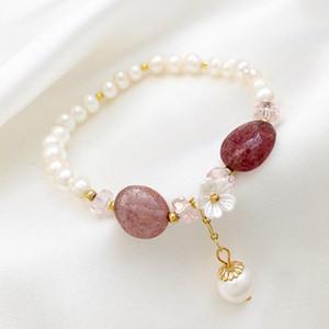 Japonêskorea moda marca jóias shell flor charme pulseiras pulseiras de água doce pérola pulseiras ajustáveis para as mulheres presente