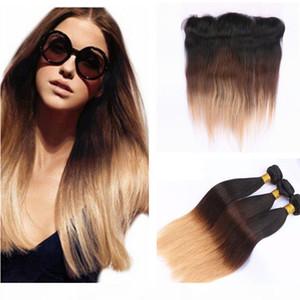 # 1b 4 27 Три Tone Bundle Drections Honey Blonde Lace Frontal Córze с пучками Бразильские человеческие волосы девственницы с кружевной лобной закрытием