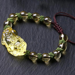 Natural yellow crystal bead Bracelet Brave troops Buddhist Bracelet feminine jewelry drop shipping