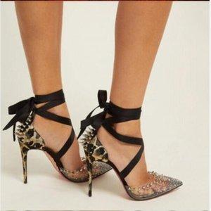 Летние плюс размер EUR45 STILETTO пятки 8 см 10 см 12 см насосы женские сандалии красные нижние высокие каблуки заостренные пальцы горный хрусталь на шнуровке