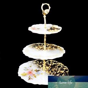 3 Tier Fashion printing Cake shelf Irregular Fruit Dish Coaster DIY Epoxy Silicone Casting Mold Holder Stand