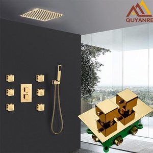 Quyanre Gold Thermostatic Ducha Faucets Set Thermostatic Golden Thermostatic Tap con 6pcs Massage Jets Bath Ducha Set