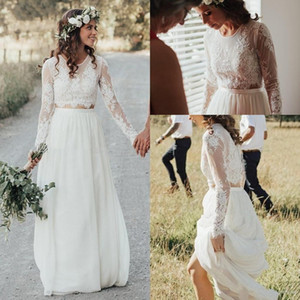 Bohemian Summer Long Sleeve Wedding Dresses Cheap Two Piece Lace Chiffon Bridal Gowns 2021 New Boho Beach Wedding Dress Vestidos de Novia