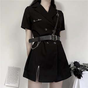 QWEEK Punk Blazer Dress Women 2021 Summer Korean Fashion Streetwear Goth Gothic Harajuku Black Dress Gothic Punk Mini