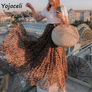 Skirts Yojoceli Leopard Chiffon Skirt Bottom Women Long Streetwear Boho Female Print