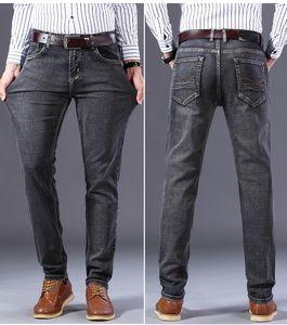 2021 New Men's Jeans Business Classic Style Fashion Denim Regular Stretch Male Trousers Blue Gray Pants Cowboys Guinness Man J4wb