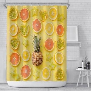 Summer Fruit Shower Curtain 5.9 Feet Yellow Pineapple Lemon Orange Pattern Polyester Fabric Waterproof Bathroom Curtains EWE4832