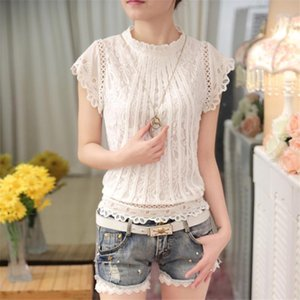 New 2021 Summer Fashion Elegant Solid Women Blouses Petal Sleeve Lace Chiffon O Neck Plus Size Shirt Tops 01C 35