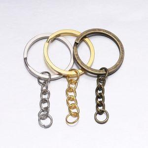 5pcs set Key Chains With Split Ring Bronze Rhodium Gold 30mm Long Round Split Keyrings Keychain Diy Jewelry Making W qylgjb