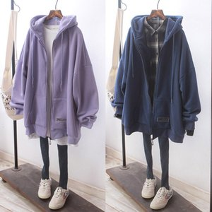 2021 New Female Fall Hoodie Loose Plus Size Korean with Hoodies Brushed Thick Winter Jacket Oversized Sweatshirt Gop7