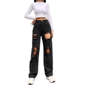 Trendy Womens Hole Jeans All-Match All-Match Alta Cintura Sólida Cor Rasgado Denim Calças Para Férias Partido Viagem Feriado Compras