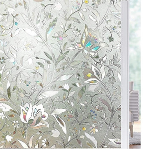 Length 200cm Tulip Flower 3D Static Cling decorative Privacy etched Glass Window Film Vinyl No-Glue Static Decorative films Y200421