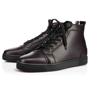 Classic style Leather casual sneaker,Paris designs red bottom high tops sneakers black genuine leather Red soles flats super quality