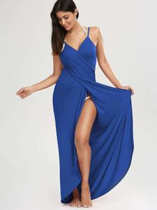 Sexy Beach Maxi Wrap Swimsuit Dress Women Summer Spaghetti Straps Bikini Veil Split Bikini Cover Ups Towels