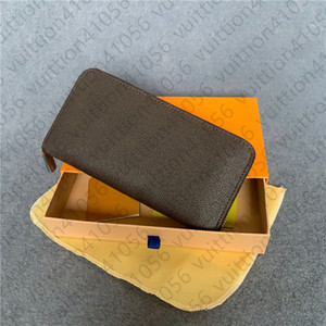 Wholesale2021hot fashion single zipper men women leather wallet lady ladies long purse with orange box card 60017S
