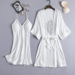 2020 Women Sexy Lace Silk Robe & Gown Set Pajamas Set Sleep Dress Bathrobe 2 Piece Robe Bridesmaid Wedding Sleepwear