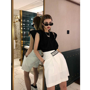 21 new summer leisure waistcoat vest women sleeveless T-shirt black clothes y2k top aesthetic clothes