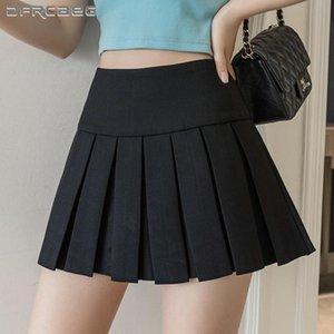 Skirts Red High Waist Summer Women Pleated Mini 2021 Casual Japanese School Kawaii Uniform Short Student