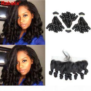 Remy Funmi Paquete de cabello humano con Frontal Sacerke Peruano Funmi Huevo Huevo Curlinos Extensiones Funmi Bouncy Curl 13x4 Encaje Cierre Frontal